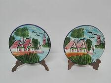 Set 2 Platitos de porcelana MANISES pintados a mano y con relieve Años 80