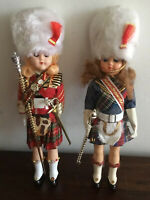 Great Pair Of Vintage Celluloid Scottish Female Guard Dolls Sleep Eyes