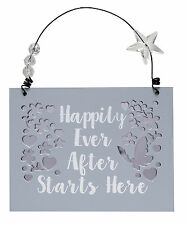 Happily Ever After Wooden Hanging Plaque Wedding Gift Rustic Mirror Mirror Range