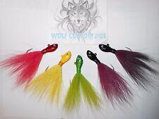 """3/4 oz Wolf Custom Ultra minnow Bucktail jigs 5 pk """"color choice"""" Fluke Flounder"""