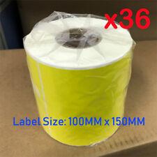 36 Rolls Yellow Thermal Direct Labels 100 x 150mm Startrack Zebra SATO DATA MAX
