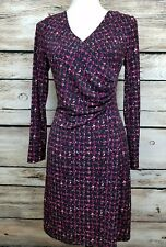 Talbots Women S faux wrap long sleeved ruched Side dress Black/Red Multi Color