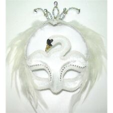 White Swan Eye Mask On Headband - Fancy Masquerade Dress Party Ball Magic Uk