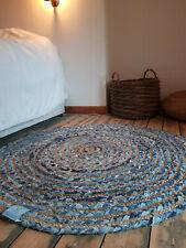 120cm x 120cm Circle Jute with blue denim Cotton Rustic Reversible Circular rugs