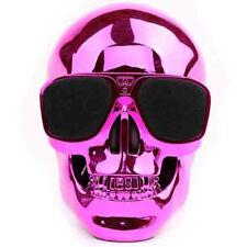 Skull Head Shape Portable Wireless Bluetooth Speaker - Pink