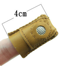 2pcs Handmade Patchwork Faux Leather Thimble Finger Protector With Metal Tip