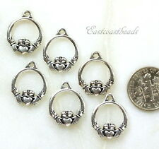 Small Claddagh Charms, TierraCast, Silver Plated Pewter, Celtic Charm, 6 Pieces