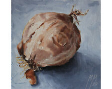 Onion Still Life Oil Painting, ORIGINAL Kitchen Art, Small Painting Gift 6x6 in