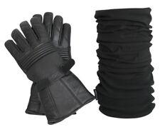 Kombi Set: Thermo Lederhandschuhe und Polar Herren Schal mir Fleece in schwarz