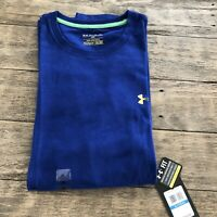 NWT Under Armour Mens XL Charged Cotton Blue Loose T Shirt Heat Gear Performance