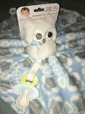 New listing Nwt Blankets and Beyond Owl Security Blanket Nunu Pacifier Holder Blue baby boys
