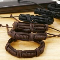 Men Women Leather Braided Cuff Bangle Punk Wristband Bracelet Adjustable Plsei