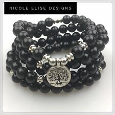 Black Crystal Glass Bracelet 108 Mala Prayer Bracelet 8mm