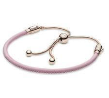 Genuine Pandora Rose Gold Pink Leather Slider Charm Bracelet NEW 2020 Summer