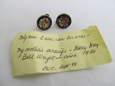 1920s Sterling Silver Sentimental Micromosaic Flower Screw On Earrings
