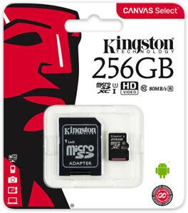 Kingston MicroSDXC 256GB 128GB UHS-I, Class 10, SD Adapter