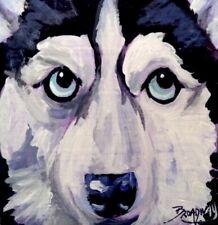 Broadway Original Impressionism Acrylic 3x3 in. Siberian Husky painting