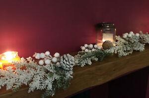 1.3m White Snow Covered Mistletoe Mantel Garland Decoration