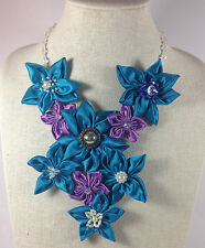 Statement Necklace V-Shaped Violet Blue Floral Daisy Flower Black Crystal Chain