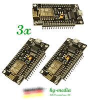 3x NodeMCU V3.2 Arduino ESP8266 ESP-12 E LUA CH340 WiFI WLan IoT Board Lolin