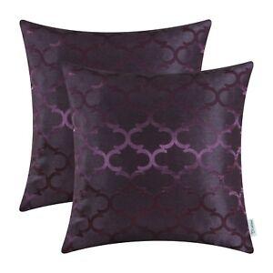 "2Pcs Deep Purple Cushion Covers Pillows Cases Accent Geometric Home Sofa 16x16"""