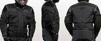 Motorradjacke - Nubuk Leder Einsätze - mit Protektoren - Textil Motorrad Jacke