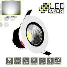 5 x 5w LED Expert Cool White Tilting LED Down Lighters White Bezel IP40 230v