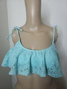H&M Swim Top Bikini Top Women's Size 8 Open Knit Aqua Swimwear Tie Strap Peace
