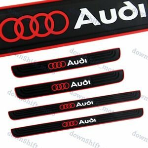 For Audi NEW 4PCS Black Rubber Car Door Scuff Sill Cover Panel Step Protector