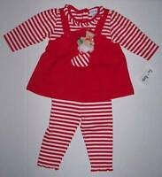 le top Baby Girl Christmas outfit red/white stripe size 6 month NWT $41