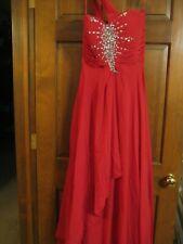 Red Prom Dress Sequin Bodice Full Length Lace Up Back Shoulder Strap Sz 6 Formal