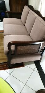 ANTIQUE LOUNGE SUITE COUCH AND MATCHING ARM CHAIRS ORIGINAL SALMON UPHOLSTRY