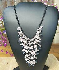* Freedom Tree * Hand Made Rose Quartz & Haematite beads  Flowing Grape Necklace