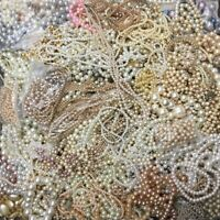 PEARL & FAUX PEARL JEWELRY MIXED LOT 11+ POUNDS BRACELETS & NECKLACES CRAFTS ART