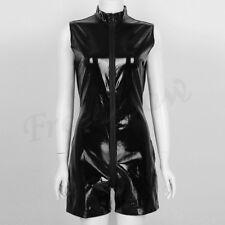 Womens Patent Leather Zipper Wetlook Catsuit Bodysuit Clubwear Romper Halloween