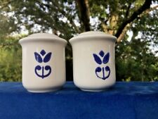 Pennsylvania Dutch Stoneware COUNTRY BLUE Pottery Salt & Pepper Shakers ❤️J8