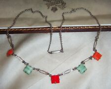 ART DECO Vivid Harlequin Geometric Glass Crystal Bezel Set Vintage NECKLACE