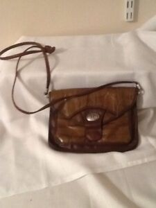 """Brown Leather Look Shoulder Bags  8.5 X6"""" With Long Brown Shoulder Strap"""