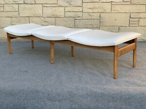Mid Century Modern Lawrence Peabody Nemshoff Ash & Flux Leather Cocktail Bench