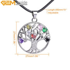 27mm Rhinestone Life Tree Chakras Crystal Pendant Necklace Jewelry 16'' Gift