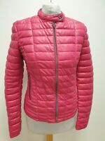 S160 WOMENS GUESS PINK FAUX LEATHER FULL ZIP QUILTED JACKET UK S EU 46