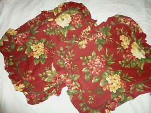WAVERLY FLORAL MANOR BOUQUET RED & GOLD FLORAL (2PC) PILLOW SHAMS 20 X 26