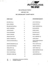 Teamsheet-PORT VALE V Stockport County 1992/3 Autoglass PRE FINALE gioco di beneficenza