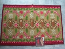 """St Nicholas Square Gingerbread Non-Skid Rug 20"""" x 30"""" NWT Christmas Candy Canes"""