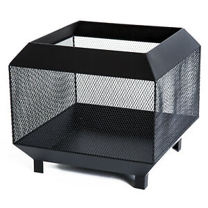 Outdoor Patio heating Stove Garden Square Fire log Pit fireplace, Steel-Black