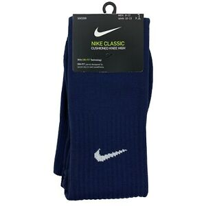 Nike Classic Cushioned Knee High Soccer Socks Men's Large 8-12 Navy SX5728