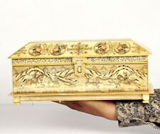 Vintage Look Decorative Hand Painted Mughal Solid Camel Bone Trinket Box 11070