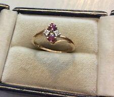 Beautiful Ladies Solid 10K Gold Ruby & Diamond Ring 10 Carat Gold - N