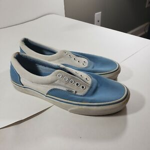 Vans Authentic Blue White Canvas Skate Shoes Mens Size 9 Women10.5 Vintage USA