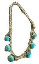 Banana Republic Faux Turquoise Chain Necklace Multi-strand Gold Silver